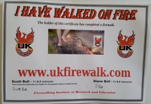 central surrey fire walk charity certificate